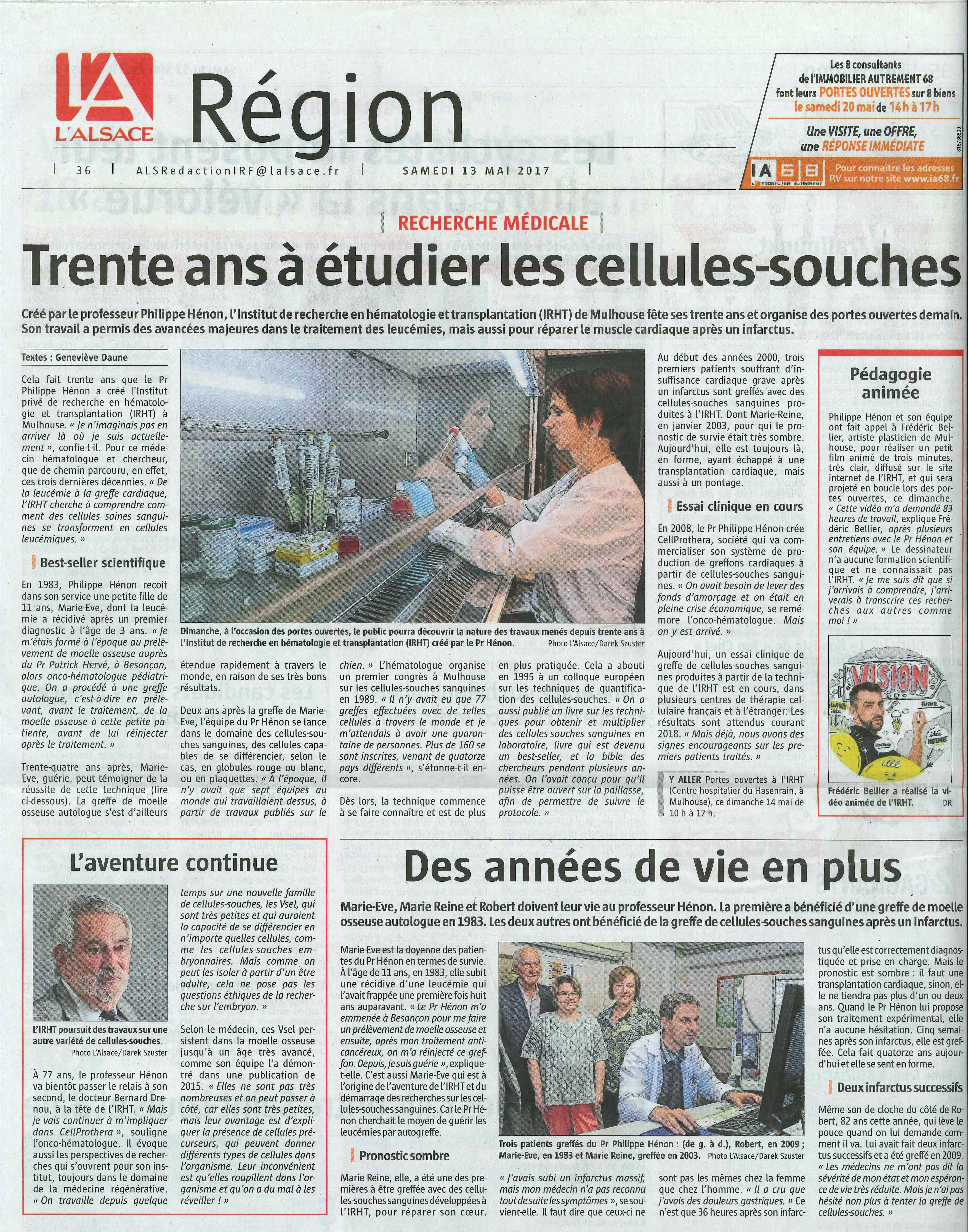 L'Alsace 13 mai 2017 - Article Trente ans à étudier les cellules-souches